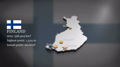 3D animated Map of Finland Stock Footage