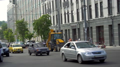 Tractor on the Street Stock Footage