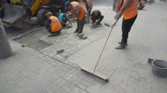 Workers Laid Paving Slabs Stock Footage