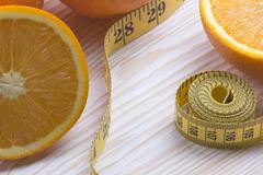 Oranges with measurement Stock Photos