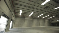 Large Modern Empty Storehouse Stock Footage