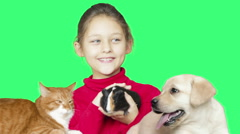 girl and animals on a green screen - stock footage