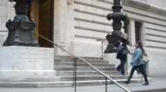 NYC Public Library Grand Entranceway Stairs Side Entrance Stock Footage