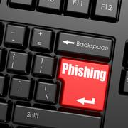 Red enter button on computer keyboard, Phishing word - stock illustration