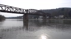 Railway bridge over a river in Germany in Hamelin Stock Footage