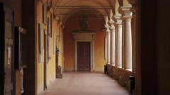 Rettorato (dean's office) door in a corridor of University of Pavia, PV, Italy Stock Footage