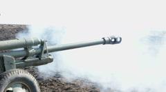 Artillery gun fires. Stock Footage