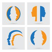 Vector portraits silhouette of a couple Stock Illustration