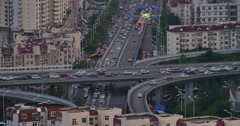 4k urban busy traffic jams in dusk,QingDao,china.city business building. Stock Footage