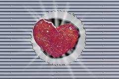 Background, metal wall with hole and red heart. - stock illustration