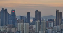4k urban city in dusk,busy traffic jams & business building,QingDao,china. Stock Footage