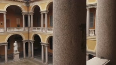 Statues courtyard at University of Pavia, PV, Italy Stock Footage