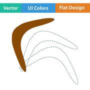 Flat design icon of boomerang - stock illustration