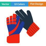 Flat design icon of football   goalkeeper gloves Stock Illustration