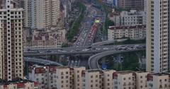 4k urban busy traffic jams in dusk,QingDao,china.city business building. - stock footage