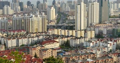 4k urban city busy traffic jams,QingDao,china.business building. - stock footage