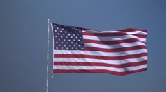 4K: Giant 60' * 40' US Flag Waves in a Stong Wind - Daytime Stock Footage