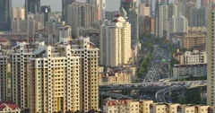 4k urban city busy traffic jams,QingDao,china.business building. Stock Footage