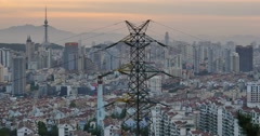 4k urban city in dusk,busy traffic jams & business building,QingDao,china. - stock footage