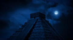 Ancient Aztec Pyramid At Night Stock Footage
