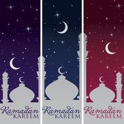 "Silver Mosque and moon ""Ramadan Kareem"" (Generous Ramadan) banners - stock illustration"