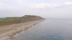 Aerial view Jurassic sea coast south England Stock Footage