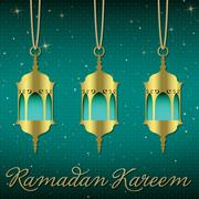 """Ramadan Kareem"" (Generous Ramadan) lantern greeting card in vector format. - stock illustration"