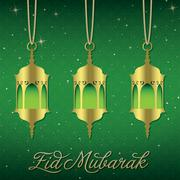 """Eid Mubarak"" (Blessed Eid) lantern greeting card in vector format. Stock Illustration"