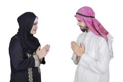 Arabic people with hand gesture Stock Photos