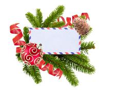 Blank postcard, Christmas balls and fir-tree isolated on white background Stock Photos