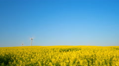 Field of blooming rapeseed and wind generators, zooming time-lapse Stock Footage