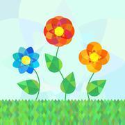 Three geometry mandala flowers on meadow Stock Illustration