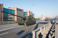 Russian self propelled artillery Koalitsiya-SV Stock Photos