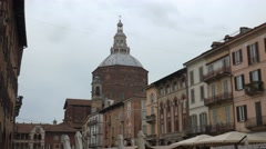 Panoramic view of Piazza Vittoria and Cathedral, Pavia, PV, Italy Stock Footage