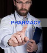 Technology, internet and networking in medicine concept - medical doctor presses Kuvituskuvat