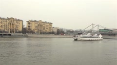 Ship On The River In The Center Of Moscow Stock Footage