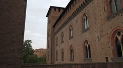 Walls of Castello Visconteo castle in Pavia, PV, Italy - stock footage