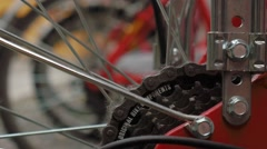 Bikes in a rack, focus shift on bike gears Stock Footage