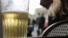 Beer Standing In Restaurant Table Close Shot Stock Footage