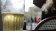 Drinking Beer Sitting Outside In Terrace Of Restaurant In Paris Stock Footage