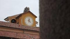 Clock tower with bells at the University of Pavia, PV, Italy, focus shift Stock Footage