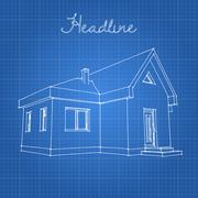 Drawing of the home on a blue background. - stock illustration