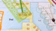 Landscape Architect Design hotel resort plan Stock Footage