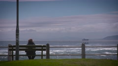 Person sitting on bench watching the ocean Stock Footage