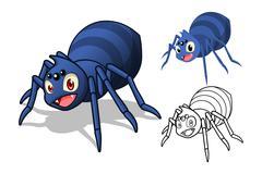 Spider Cartoon Character - stock illustration