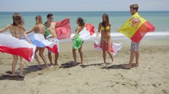 Group of Friends in Swim Suits with Flags at Beach Stock Footage