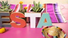 Traditional colorful table decorations for celebrating Fiesta. Stock Footage