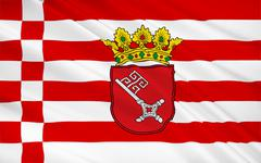 Flag of Free Hanseatic City of Bremen is the smallest of Germany's 16 states Stock Illustration