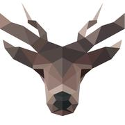 Deer polygons horned animal head illustration logo low poly modern style sign - stock illustration