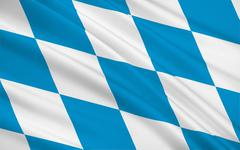 Flag of Free State of Bavaria - the land in the south and southeast of the Fe - stock illustration